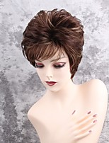 Women Synthetic Wig Capless Short Straight Brown Side Part Highlighted/Balayage Hair Pixie Cut With Bangs Natural Wigs Costume Wig