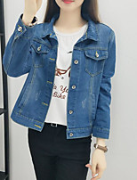 Women's Casual/Daily Simple Fall Denim Jacket,Solid Shirt Collar Long Sleeve Regular Polyester