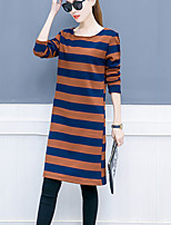 Women's Plus Size Casual/Daily Simple T Shirt Dress,Striped Round Neck Knee-length Long Sleeves Cotton Polyester Fall Winter Mid Rise