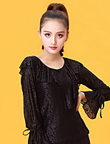 Latin Dance Tops Women's Performance Ice Silk Pleated Long Sleeve Top