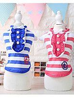 Dog Shirt / T-Shirt Dog Clothes Casual/Daily Stripe Fuchsia Blue Costume For Pets