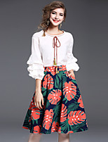 YHSP Women's Going out Daily Sweet Style Leisure Pastoral Style Fall Blouse Skirt SuitsPrint Round Neck  Sleeve Chiffon Inelastic