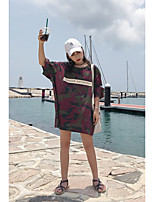 Women's Going out Street chic Summer T-shirt,Print Camouflage Round Neck Half Sleeves Cotton Opaque