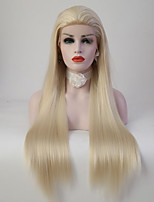 Women Synthetic Wig Lace Front Long Straight Light Blonde Natural Wigs Costume Wig