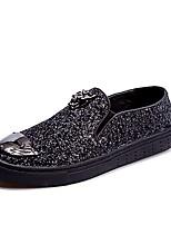 Masculino sapatos Couro Ecológico Primavera Outono Conforto Mocassins e Slip-Ons Para Casual Preto Prateado Azul