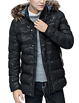 Men's Long Padded Coat,Sexy Simple Street chic Plus Size Casual/Daily Color Block-Cotton Polyester Polyester Long Sleeves