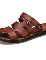 Herren Schuhe Künstliche Mikrofaser Polyurethan Frühling Herbst Komfort Sandalen Schnürsenkel Für Normal Braun Dunkelbraun