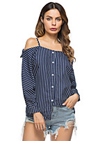 Women's Holiday Going out Sexy Spring Summer Shirt,Striped Boat Neck Long Sleeves Cotton Thin