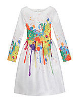 Girl's Casual/Daily Holiday Print Dress,Cotton Polyester All Seasons Long Sleeve