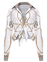 Women's Going out Club Vintage Sexy Spring Fall Shirt,Print Shirt Collar Long Sleeves Polyester Medium
