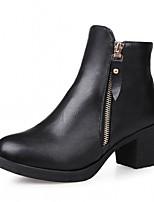 Mujer Zapatos Semicuero PU Otoño Invierno Confort Innovador Botas hasta el Tobillo Botas Tacón Robusto Dedo redondo Botines/Hasta el
