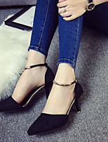 Women's Shoes Nubuck leather PU Spring Fall Basic Pump Heels Stiletto Heel For Casual Red Gray Black