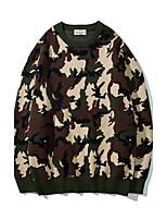 Herren Kurz Pullover-Ausgehen Lässig/Alltäglich Druck Rundhalsausschnitt Langarm Wolle Andere Frühling Herbst Mittel Mikro-elastisch