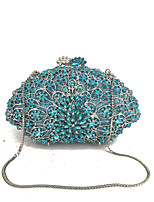 Women Bags All Seasons Metal Evening Bag Crystal Detailing for Wedding Event/Party Formal Silver Military Green Light Green Dark Green
