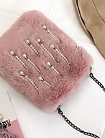 Women Bags Fur Shoulder Bag Zipper for Event/Party Outdoor All Seasons Red Blushing Pink Gray Dark Green Sky Blue