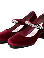 Women's Shoes Cowhide Nappa Leather Spring Fall Basic Pump Heels Chunky Heel For Casual Burgundy Black