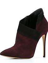 Недорогие -Для женщин Обувь Дерматин Зима Модная обувь Ботинки На шпильке Заостренный носок Ботинки для Для праздника Красный