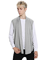 Men's Casual/Daily Regular Pullover,Solid Cowl Neck Sleeveless Cotton Fall Winter Medium Micro-elastic