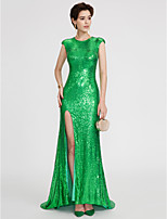 Mermaid / Trumpet Jewel Neck Sweep / Brush Train Sequined Formal Evening Dress with Sequins Pleats by TS Couture®