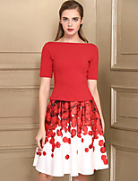 Women's Party Casual Fall T-shirt Skirt Suits,Floral Boat Neck Short Sleeve Nylon Micro-elastic