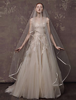 One-tier Wedding Veil Cathedral Veils With Ribbon Tulle Wedding Accessories