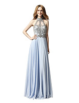A-Line Halter Floor Length Chiffon Prom Formal Evening Dress with Beading Sequins by Sarahbridal
