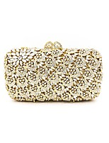 Women Bags All Seasons Metal Evening Bag Crystal Detailing for Wedding Event/Party Gold