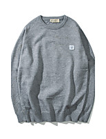 Men's Going out Casual/Daily Short Pullover,Solid Round Neck Long Sleeves Wool Others Spring Fall Medium Micro-elastic