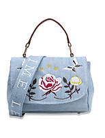 Women Bags All Seasons Canvas Shoulder Bag Embroidery for Shopping Casual Blue White