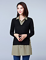 Women's Going out Plus Size Spring Fall Shirt,Color Block Shirt Collar Long Sleeves Cotton Polyester