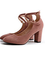 Women's Shoes Synthetic Microfiber PU Fall Basic Pump Heels Chunky Heel Square Toe Buckle For Office & Career Dress Almond Blushing Pink
