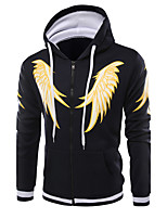 Men's Daily Sports Hoodie Print Hooded Micro-elastic Cotton Long Sleeve Winter Fall