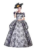 Victorien Rococo Féminin Adulte Costume de Soirée Bal Masqué Gris Cosplay Manches Courtes Longueur Sol