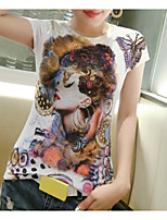 Women's Daily Casual T-shirt,Solid Print Round Neck Short Sleeves Cotton