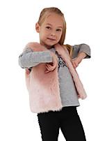 Girls' Solid Jacket & Coat,Wool Rabbit Fur Raccoon Fur Fall Winter Sleeveless