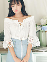 Women's Casual/Daily Simple Blouse,Solid Boat Neck Half Sleeves Cotton