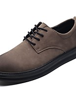 Men's Shoes Rubber Fall Comfort Oxfords Lace-up For Outdoor Brown Gray Black