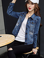 Veste en jean Femme,Couleur Pleine Sortie Chinoiserie Printemps Automne Manches longues Col de Chemise Court Coton Polyester Brodée