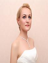 Women's Drop Earrings Necklace Rhinestone Wedding Party Alloy Geometric Necklace Earrings