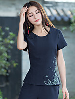 Women's Daily Vintage Chinoiserie T-shirt,Embroidery Round Neck Short Sleeves Cotton Linen
