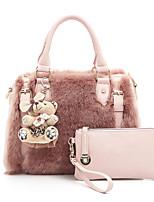 Women Bags All Seasons Fur Bag Set 2 Pieces Purse Set Zipper for Shopping Casual White Black Blushing Pink