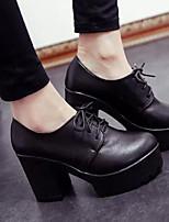 Femme Chaussures Vrai cuir Automne Hiver Escarpin Basique Chaussures à Talons Gros Talon Pour Décontracté Noir Vin