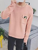 Men's Casual/Daily Regular Cardigan,Solid Round Neck Long Sleeves Cotton Fall Medium Micro-elastic