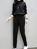 Sweat à capuche Pantalon Costumes Femme,Couleur Pleine Sortie Décontracté / Quotidien Grandes Tailles simple Rétro Mignon Eté Automne
