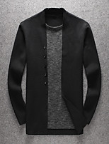 Men's Going out Casual/Daily Short Cardigan,Solid V Neck Long Sleeves Wool Others Spring Fall Medium Micro-elastic