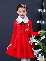 Girl's Birthday Going out Solid Dress,Cotton Polyester Fall Winter Long Sleeve