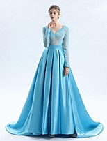 A-Line V-neck Court Train Lace Satin Tulle Mother of the Bride Dress with Lace Sash / Ribbon by LAN TING BRIDE®