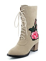 Women's Shoes Nubuck leather Spring Fall Comfort Ankle Strap Boots Chunky Heel Round Toe Mid-Calf Boots Lace-up Flower For Casual Dress