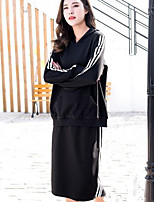 Women's Daily Going out Street chic Winter Fall Hoodie Skirt Suits,Solid Hooded Long Sleeve Cotton Micro-elastic