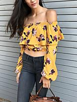 Mujer Simple Chic de Calle Festivos Casual/Diario Otoño Camiseta,Escote Barco Floral Manga Larga Poliéster